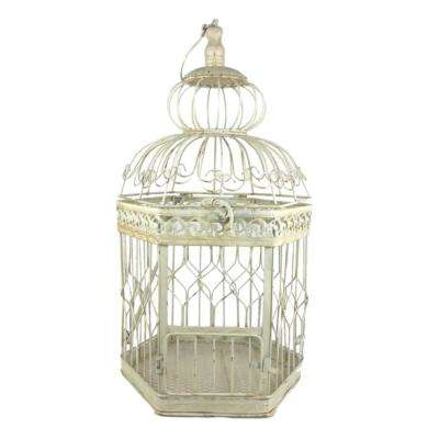 22 in. Antique White Decorative French Style Steel Bird Cage