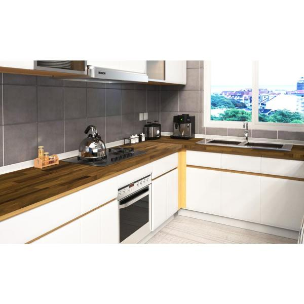 60009299 Acacia 8 Ft L X 40 In D X 1 5 In T Butcher Block Island Countertop In Brown Oil Stain 672612 The Home Depot