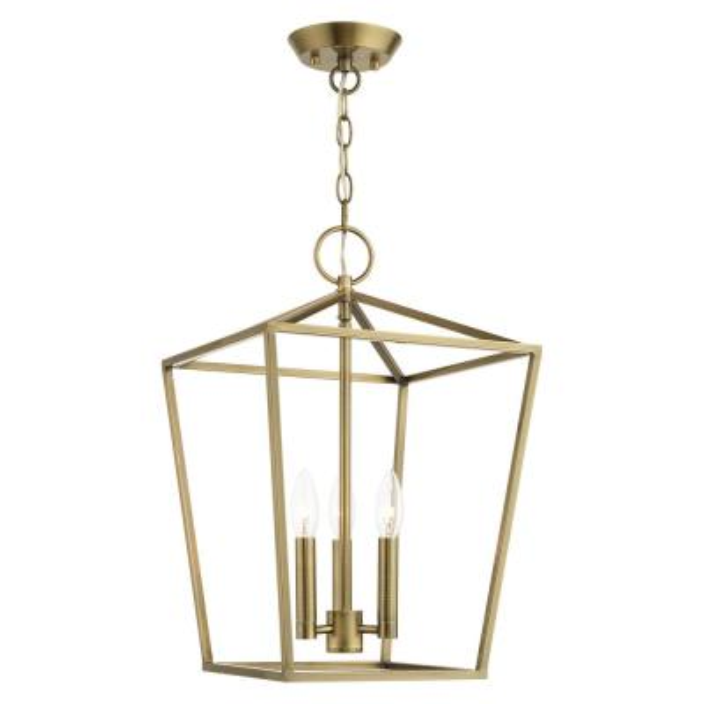 Devonshire 3 Light Antique Brass Convertible Semi Flush/Lantern