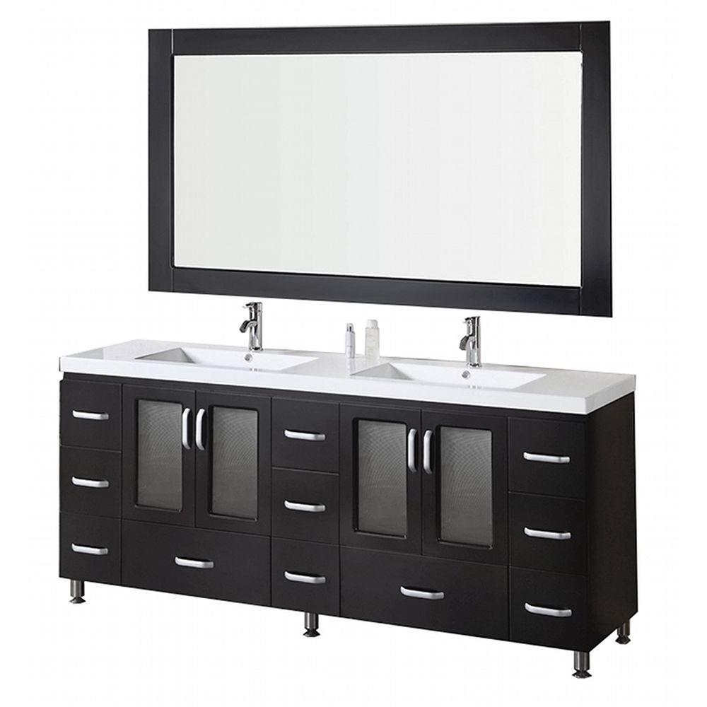 Design Element Vanity Mirror Espresso Acrylic Vanity Top White