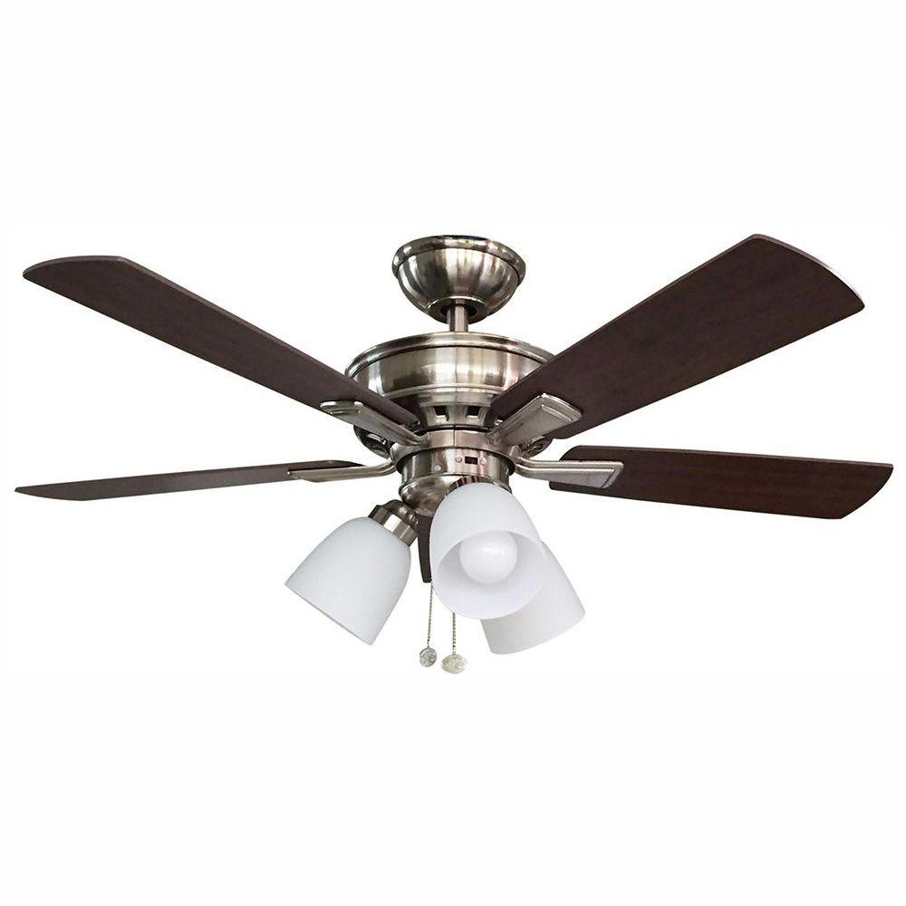Hampton Bay Vaurgas 44 in. LED Indoor Brushed Nickel Ceiling Fan with Light Kit