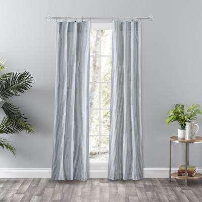 Plaza Stripe Blue Polyester/Cotton Room Darkening Tailored Panel Pair Curtain - 56 in. W x 84 in. L