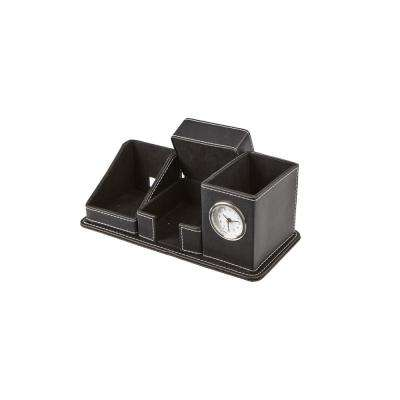 Faux Leather 5-Compact Compartment Desk Organizer, Black