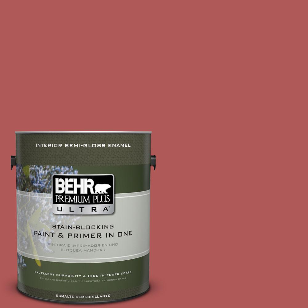 1-gal. #160D-6 Pottery Red Semi-Gloss Enamel Interior Paint