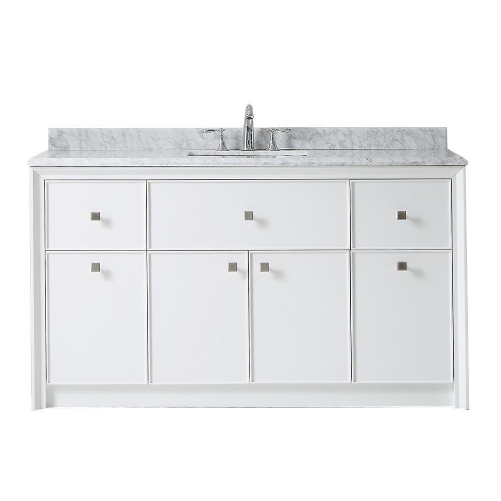 Martha Stewart Living Bath Vanity Bright White Marble Top Gray White