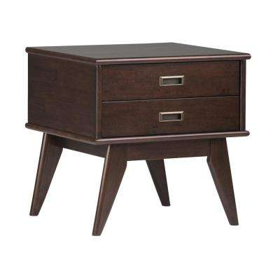 Draper Mid Century Medium Auburn Brown Storage Side Table