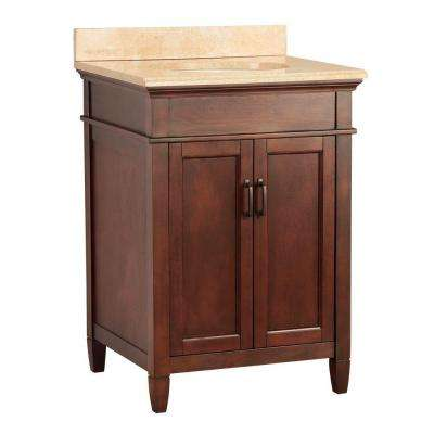 Ashburn 25 in. W x 22 in. D Vanity in Mahogany with Vanity Top and Stone Effects in Oasis