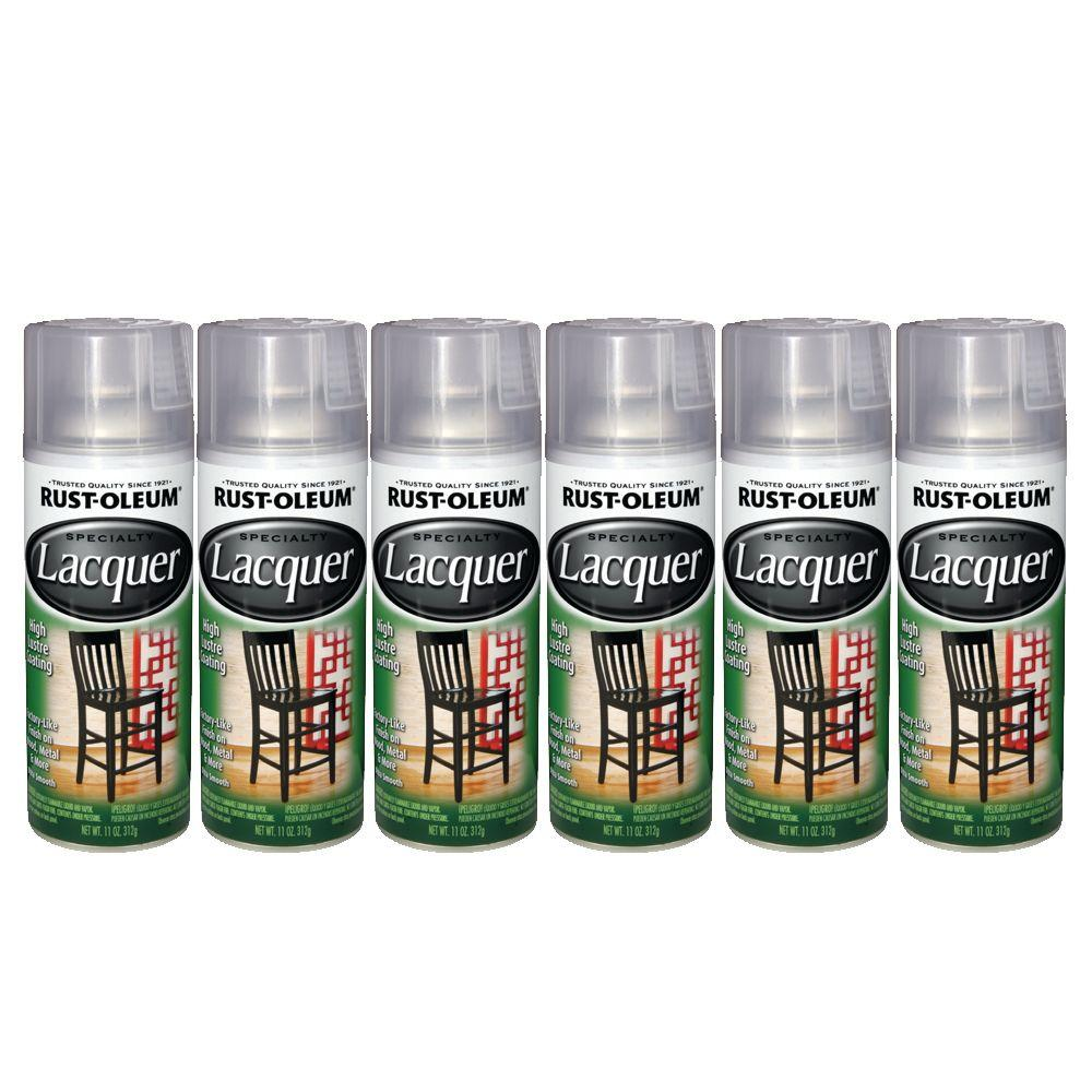 Rust-Oleum 12 oz. Specialty Lacquer Clear Spray Paint (6-Pack)-DISCONTINUED