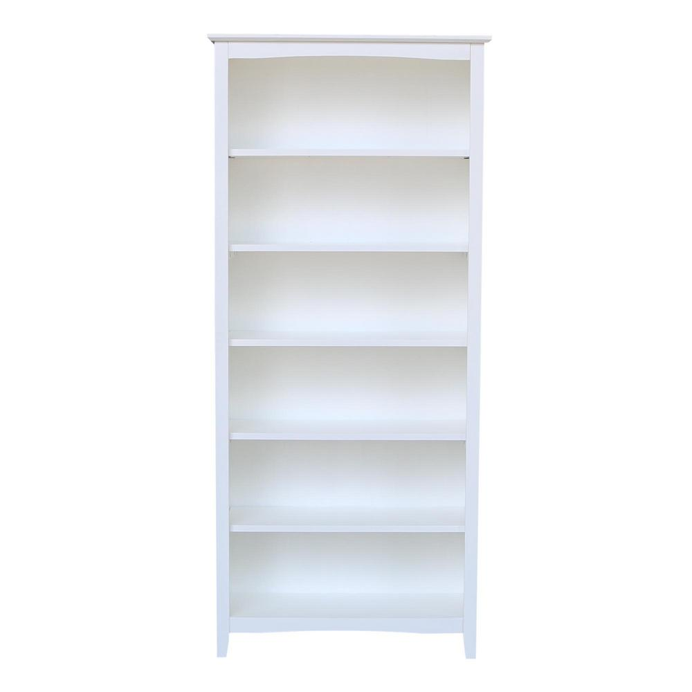 72 in. White Wood 6-shelf Standard Bookcase with Adjustable Shelves