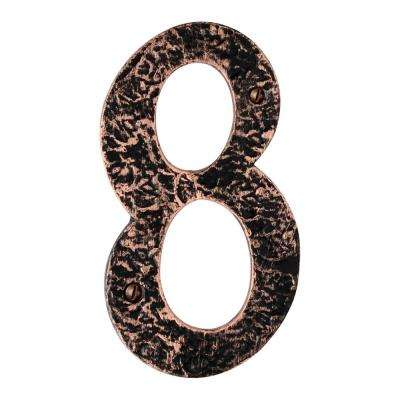 Hammered 6 in. Antique Copper House Number 8