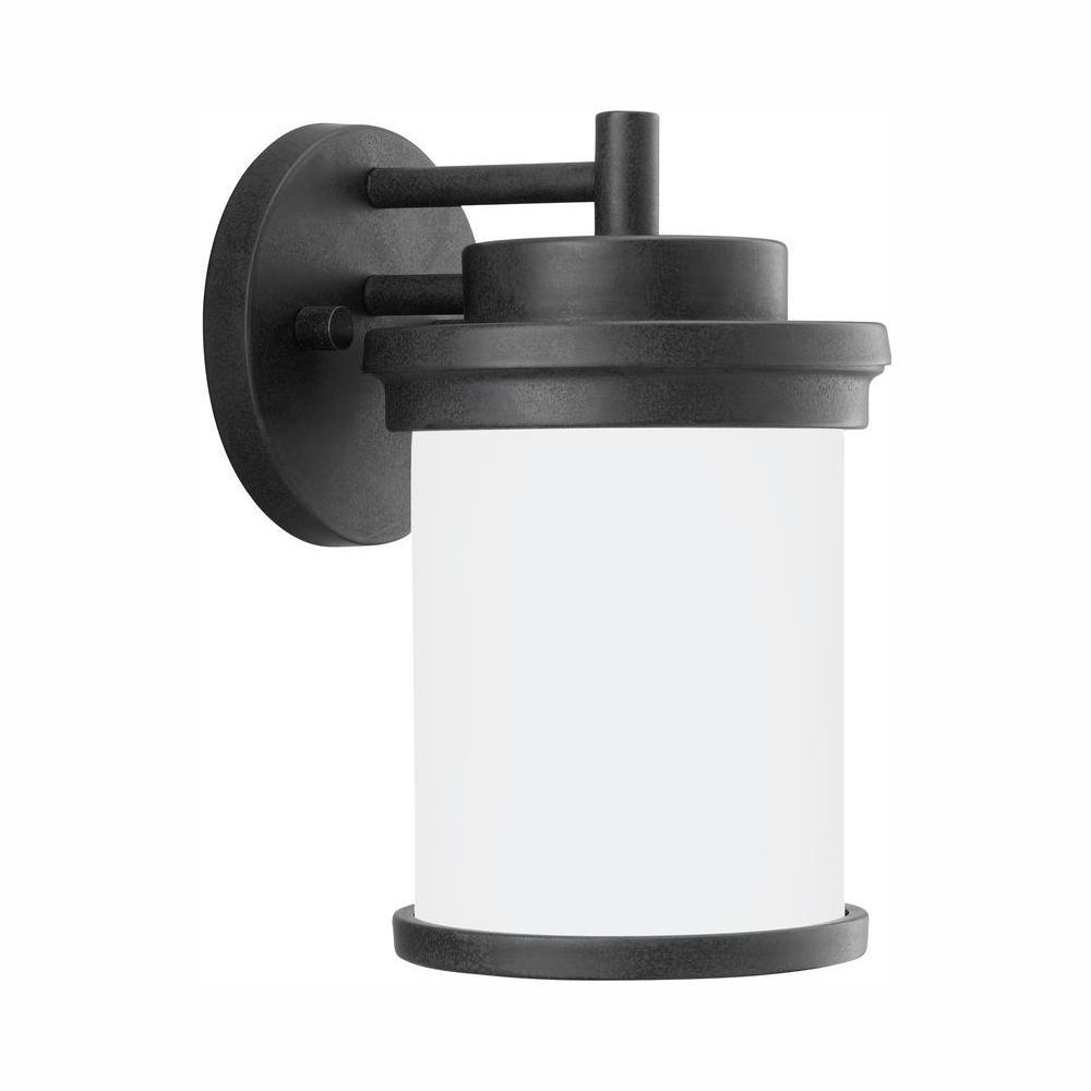 Winnetka 10.25 in. 1-Light Forged Iron Outdoor Wall Lantern Sconce