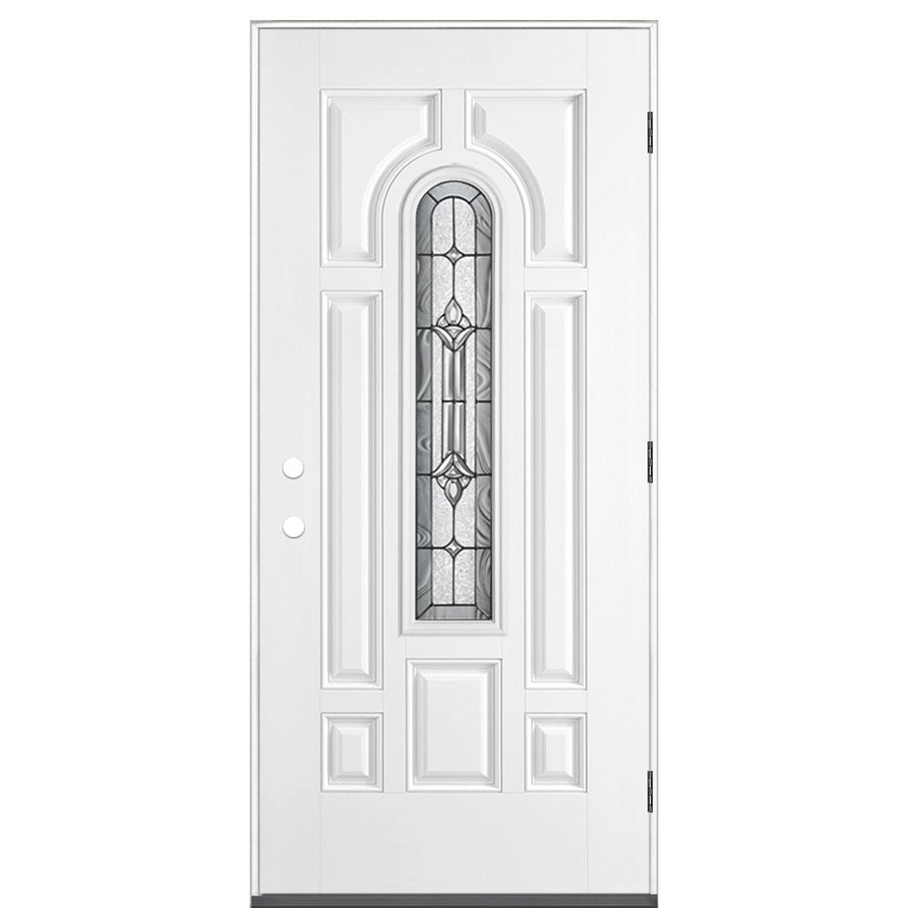 Masonite 36 in. x 80 in. Providence Center Arch Left Hand Outswing Primed White Smooth Fiberglass Prehung Front Exterior Door