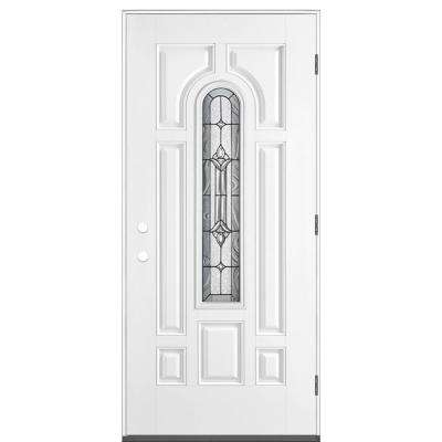 36 in. x 80 in. Providence Center Arch Left Hand Outswing Primed White Smooth Fiberglass Prehung Front Exterior Door