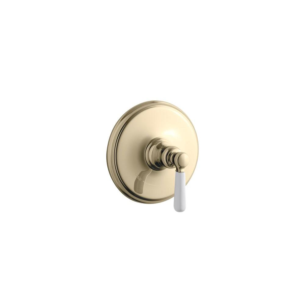 KOHLER Bancroft 1-Handle Thermostatic Valve Trim Kit in Vibrant French Gold with Ceramic Lever Handle (Valve Not Included)