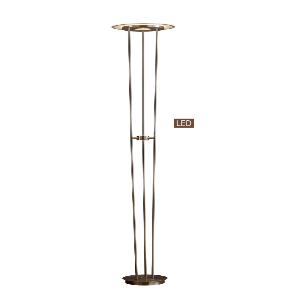 Artiva 72 In Satin Nickel Luciano Led Torchiere Floor Lamp Touch Dimmer Led804268sn The Home Depot