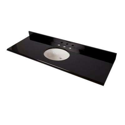 61 in. x 22 in. Colorpoint Vanity Top in Black with White Bowl
