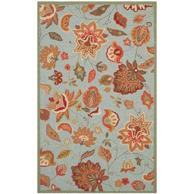 Four Seasons Teal/Multi 8 ft. x 10 ft. Indoor/Outdoor Area Rug
