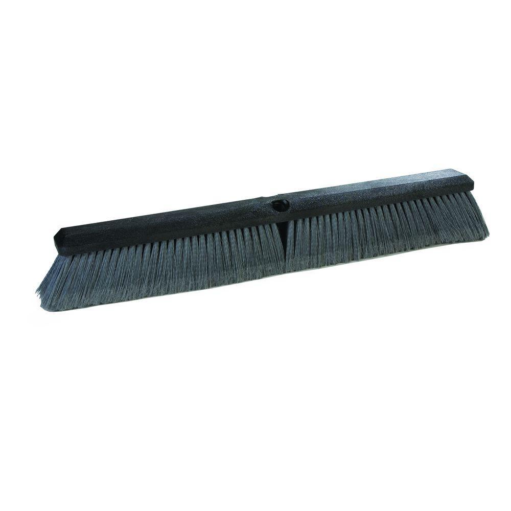 24 in. Flagged Polypropylene Fine Sweep Broom in Grey (12-Case)