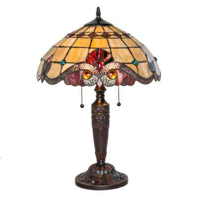 20.25 in. Red Tiffany Style Table Lamp with Vivaldi Stained Glass Shade