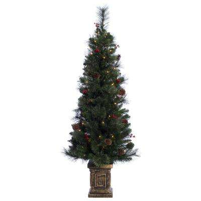 pre lit incandescent pot artificial christmas tree with 70 ul clear lights