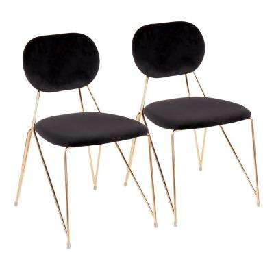 Gwen Gold with Black Velvet Side Chair (Set of 2)