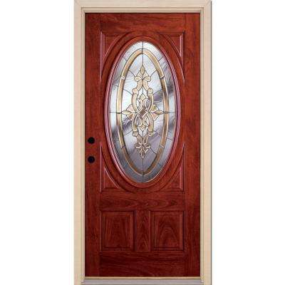 37.5 in. x 81.625 in. Silverdale Zinc 3/4 Oval Lite Stained Cherry Mahogany Right-Hand Fiberglass Prehung Front Door