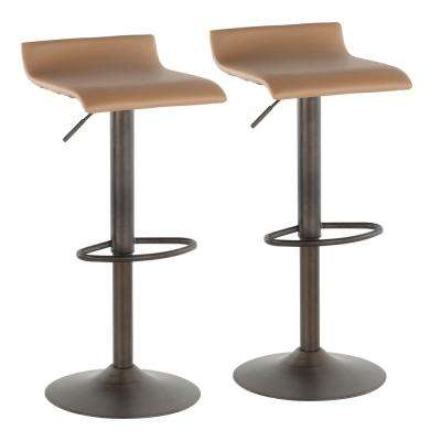 Ale Industrial Adjustable Antique and Camel Faux Leather Barstool (Set of 2)