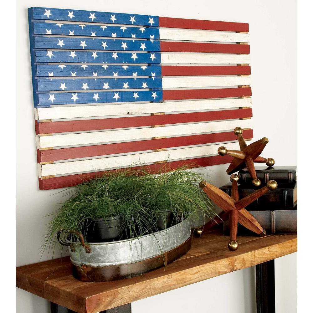 Litton Lane 38 In. X 21 In. American Flag Wall Decor-48691