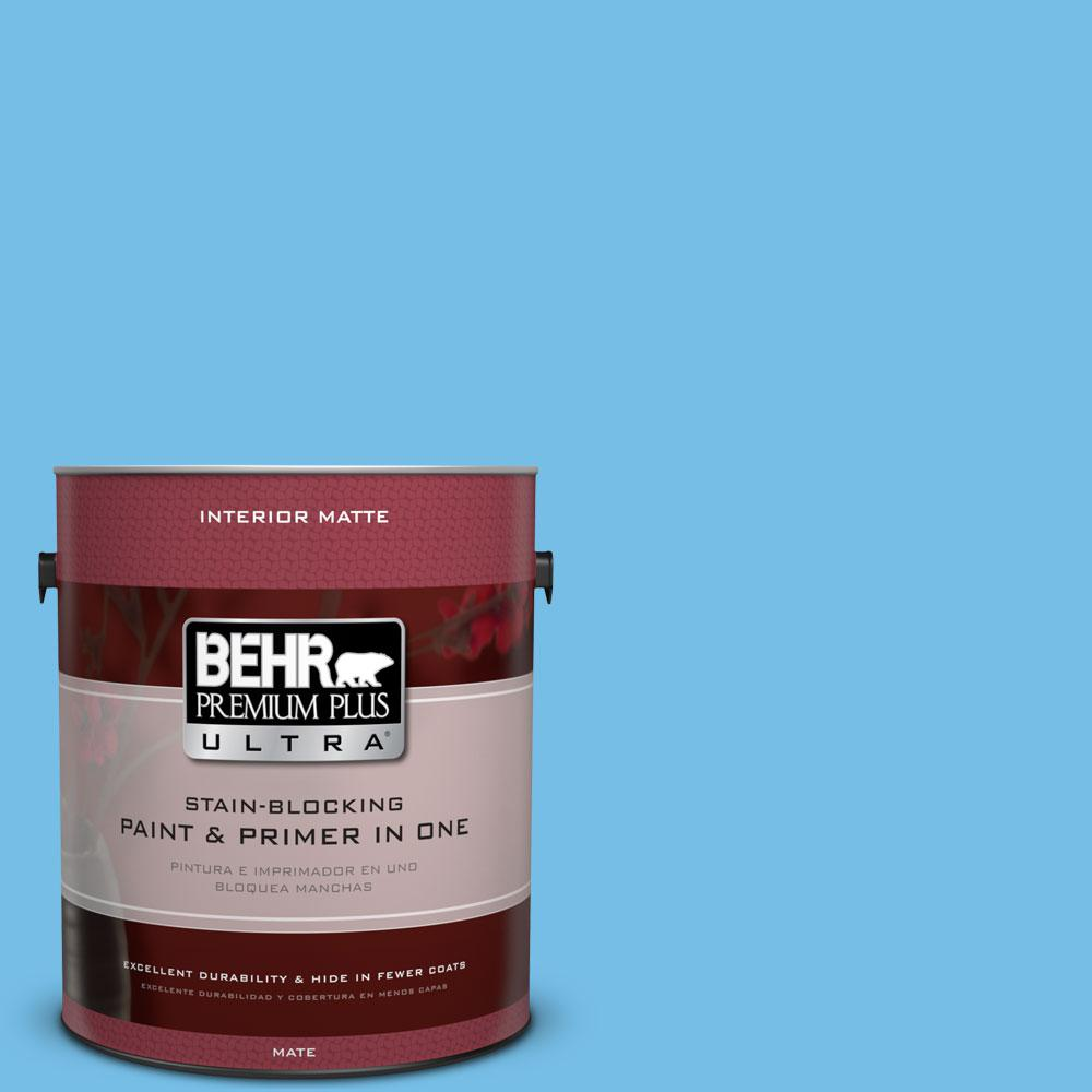 1 gal. #550B-4 Costa Rica Blue Flat/Matte Interior Paint