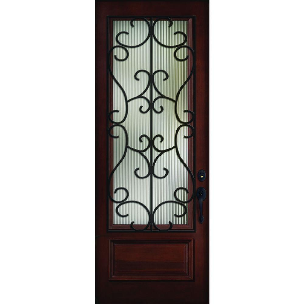 36 in. x 80 in. Decorative Iron Grille 3/4-Lite Stained Mahogany