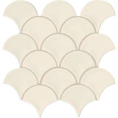 Almond Glossy Fish Scale 10.74 in. x 10.2 in. x 10mm Porcelain Mesh-Mounted Mosaic Tile (12.94 sq. ft. / case)