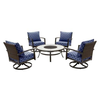 Whitfield 5-Piece Dark Brown Metal Outdoor Round Fire Pit Seating Set w/ CushionGuard Midnight Trellis Navy Cushions