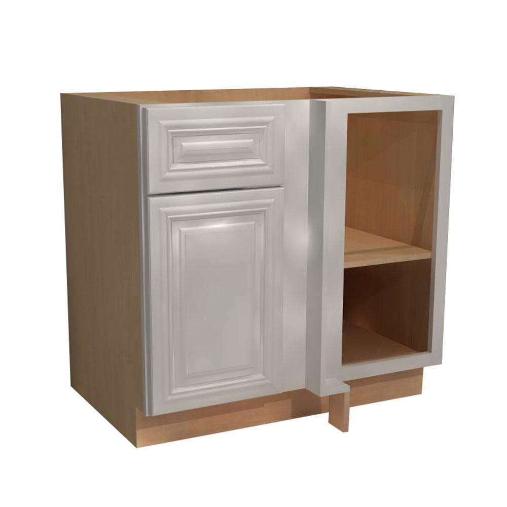 Home Decorators Collection Coventry Assembled 36x34.5x24 in. Single Door & Drawer Hinge Right Base Kitchen Blind Corner Cabinet in Pacific White