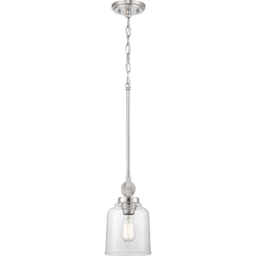 Home Decorators Collection Knollwood 1-Light Brushed Nickel Mini-Pendant
