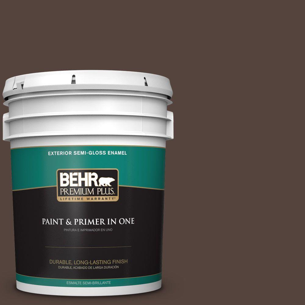 5-gal. #780B-7 Bison Brown Semi-Gloss Enamel Exterior Paint