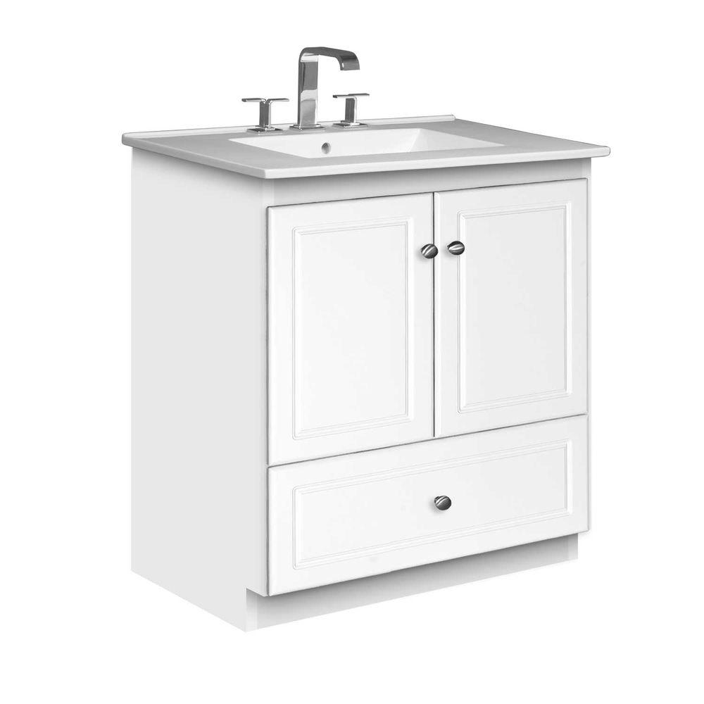 Simplicity by Strasser Ultraline 31 in. W x 22 in. D x 35 in. H Vanity with No Side Drawers in Satin White with Ceramic Vanity Top in White
