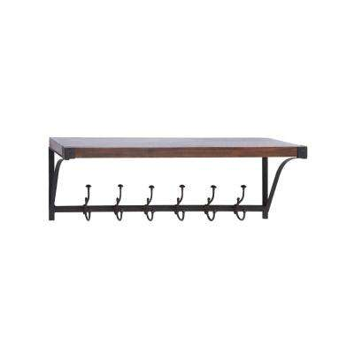 39 in. W x 13 in. H 6-Hook Pine Wood and Iron Wall Shelf in Cherrywood Brown and Distressed Black