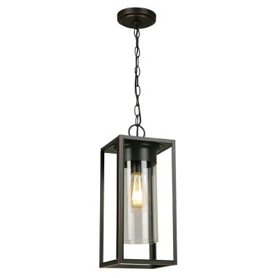 Walker Hill 7.36 in. W x 17.63 in. H 1-Light Oil Rubbed Bronze Outdoor Hanging Pendant Light with Clear Glass