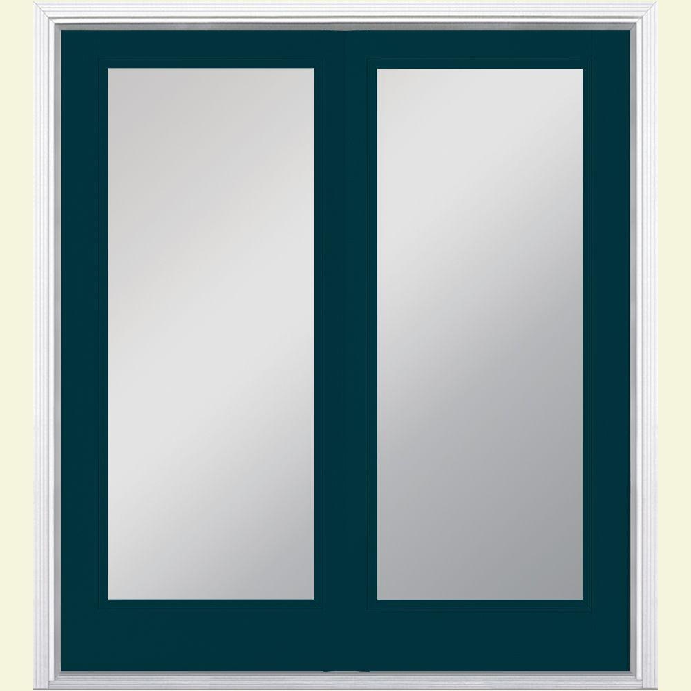 Masonite 60 in. x 80 in. Night Tide Prehung Right-Hand Inswing Full Lite Steel Patio Door with Brickmold in Vinyl Frame