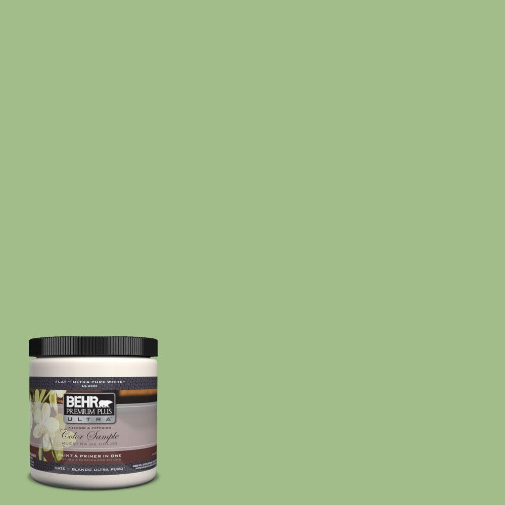 BEHR Premium Plus Ultra 8 oz. #PPH-55 Green Herb Flat Interior/Exterior Paint and Primer in One Sample