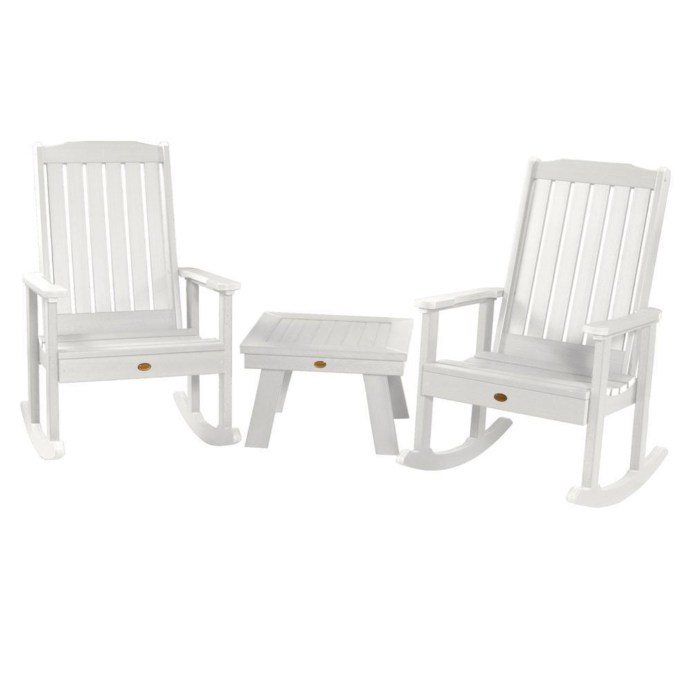 Lehigh White 3-Piece Recycled Plastic Patio Conversation Set