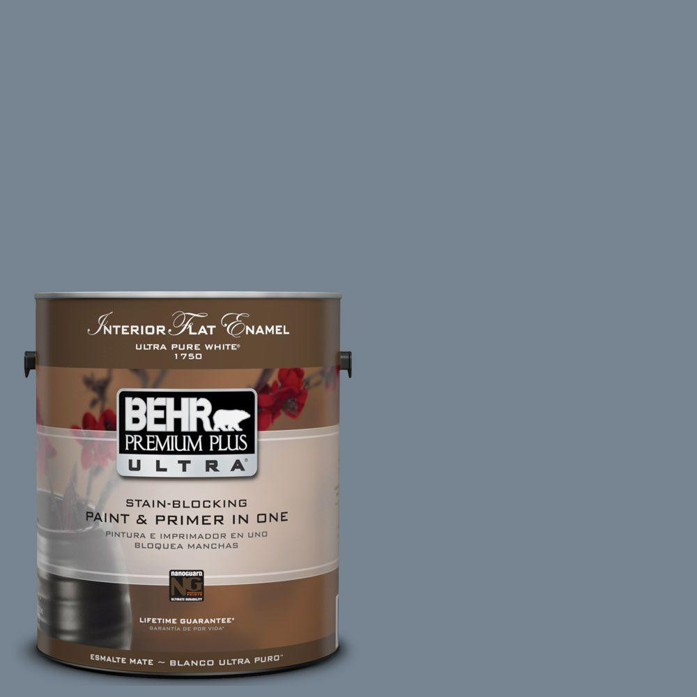 BEHR Premium Plus Ultra 1-Gal. #UL230-5 Forever Denim Interior Flat Enamel Paint