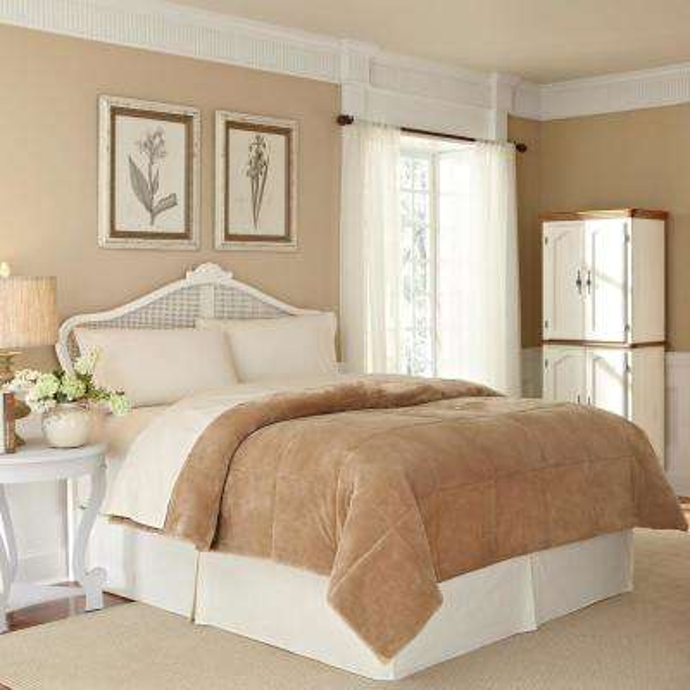 Plush Lux Sand Polyester King Blanket