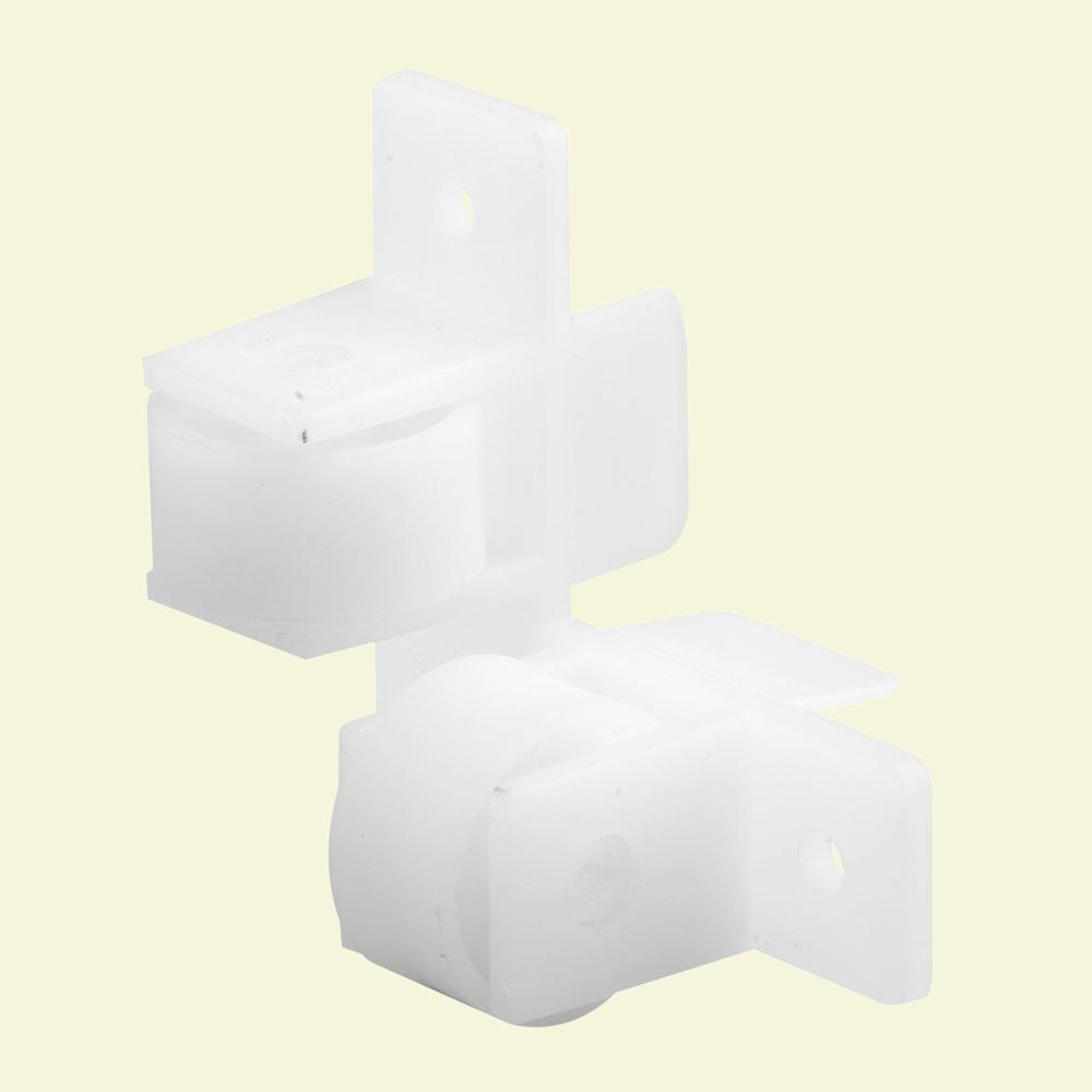 Prime-Line 15/16 in. White Nylon Drawer Guide Twin Roller Assembly (Pack of 2)