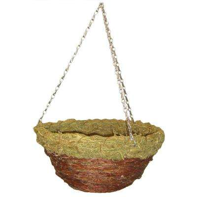 14 In. Red Twig and Fern Round Hanging Planter with Chain