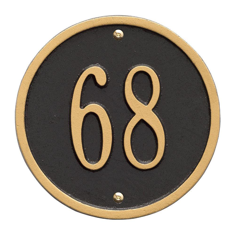 Round Petite Black/Gold Wall 1-Line Address Plaque