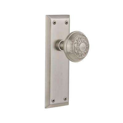 New York Plate 2-3/4 in. Backset Satin Nickel Privacy Egg and Dart Door Knob