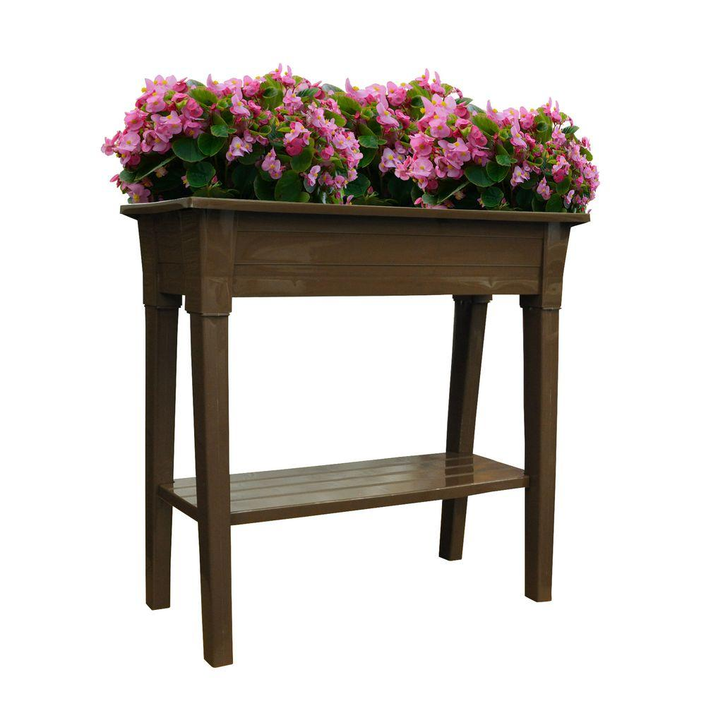 Adams Manufacturing 36 in. Deluxe Resin Brown Garden Planter-DISCONTINUED