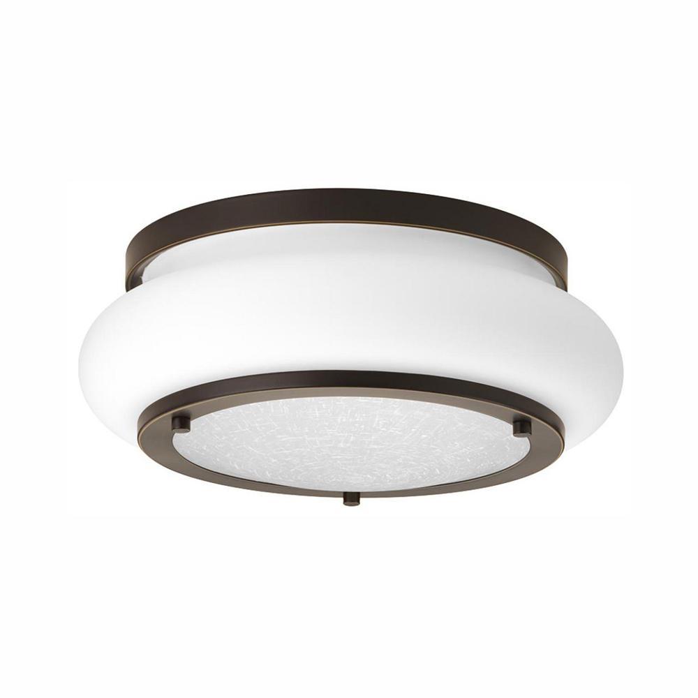 Progress Lighting Opal-Linen LED Collection 17-Watt Antique Bronze Integrated LED Flush Mount