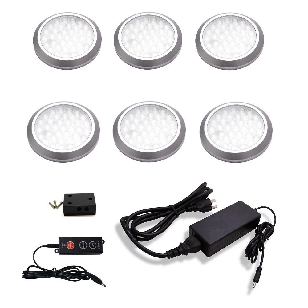 MacLEDS LED Under Cabinet Low Profile Puck Light Kit (6 Pack)